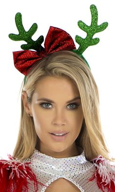 Reindeer Antler Headband with a glittery bow that can be made using glittery foam sheets.