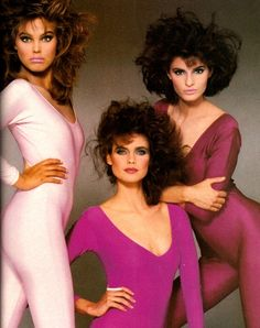 Molly: If we focus less on the unitards, this picture shows three great examples of 1980s makeup. It was, after all, an advertisement for Revlon.