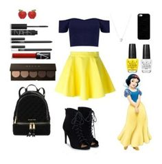 """""""Snow white"""" by crystalgems125 ❤ liked on Polyvore featuring Boohoo, Jeremy Scott, Crystal Avenue, NARS Cosmetics, Michael Kors, JustFab, OPI, Casetify and Links of London"""