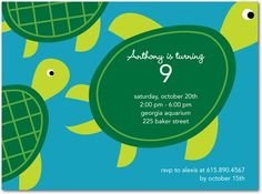 turtle birthday party invite  - Bing Images  Had these customized for Eli's party! Love them!!!