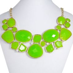 Green Oval Bubble Necklace, Bib Statement Necklace, Clear Rhinestone Cluster Necklace Pendant-127855023