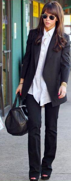 Jacket - : Elizabeth and James James IX Blazer Sunglasses - Mosley Tribes Enforcer Aviator Purse - Alexander Wang Jeans - J Brand Mid Rise Straight More Elizabeth and James... More J Brand...