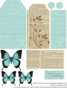 Gina's Designs: Freebie Friday - Butterfly Tag - love the colors on the butterflies - she made a tag using the butterfly and layered it with glitter - pretty - bjl Printable Tags, Printable Paper, Free Printables, Journal Vintage, Paper Art, Paper Crafts, Digital Scrapbooking Freebies, Free Scrapbook Paper, Journal Cards