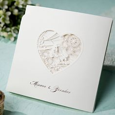 B Hands Card 1 Sample Set Wedding Invitations Laser Cut Buterfly Lace BH1008 #white #lace #heart