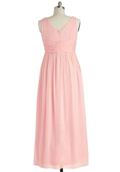 From the moment you received the invitation to your friend's fête, you knew you'd be wearing this rose-pink maxi dress! As you twirl on the dance floor in this fully lined frock, the floating chiffon and ruched waistband add extra pizzazz to your moves. Posing for pictures later in your sparkly shoes, statement necklace, white shawl, and this darling dress, you feel like the most precious person at the party!