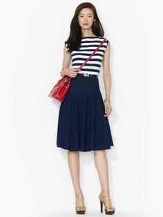 Belted Cotton Boatneck Dress - Lauren Short Dresses - RalphLauren.com