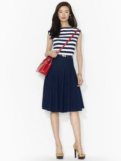 Striped top with navy blue skirt from Ralph Lauren ♥