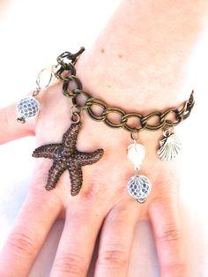 Little Mermaid Ariel Steampunk Inspired Sunken Ship Charm Bracelet by JJewlery on Etsy