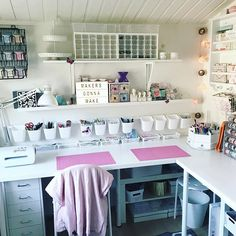 44 best art room decor ideas - artmyideas craft shed, ikea craft room Craft Room Storage, Sewing Room Organization, Craft Desk, Organization Ideas, Diy Desk, Ikea Craft Room, Storage Ideas, Organization For Craft Room, Organized Craft Rooms