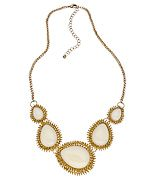 Blu Bijoux White and Gold Teardrop Bib Necklace