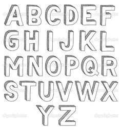 Illustration of Hand drawn vector abc, font, alphabet vector art, clipart and stock vectors. 3d Alphabet, Block Letter Alphabet, Alphabet Drawing, Hand Lettering Alphabet, Drawing Letters, 3d Letters, Block Lettering, How To Draw Letters, Block Fonts