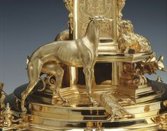 Centrepiece | Royal Collection Trust. Silver gilt, designed by Edmund Cotterill and Prince Albert, produced by Garrards. Closeup of the model of the greyhound Eos.