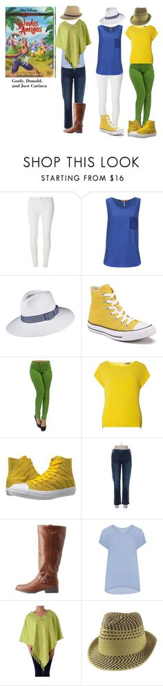 """Saludos Amigos"" by michdrpenguin ❤ liked on Polyvore featuring Disney, Dorothy Perkins, BOSS Orange, Scala, Converse, Gap, Charlotte Russe, Samoon and NOVICA"