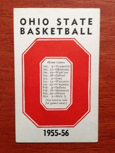 #vintage 1955-56 ohio state buckeyes basketball schedule osu from $16.99