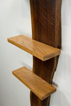 2 Live Edge Black Walnut Slab Wall Shelves with Curly Maple