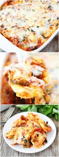 Easy Cheesy Baked Tortellini Recipe on twopeasandtheirpod.com Love this easy pasta bake! #dinner #pasta