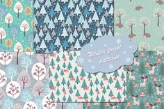 Winter and Christmas patterns by abooza on Creative Market
