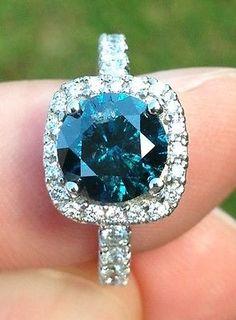 Exquisite 14k, 2.07ct. Blue Diamond Ring