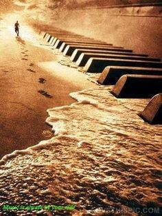 Music is always by your side music quote beach art abstract lonely piano