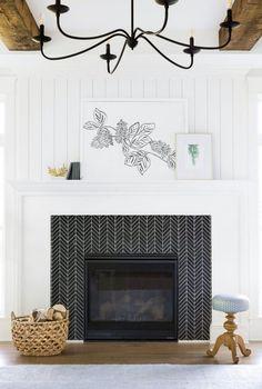 A Classic Farmhouse Meets Chic Furnishings – farmhouse fireplace tile Fireplace Tile Surround, Shiplap Fireplace, Farmhouse Fireplace, Fireplace Remodel, Fireplace Surrounds, Fireplace Design, Tile Around Fireplace, Fireplace Hearth, White Fireplace Mantels