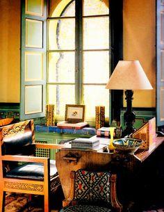 YSL's study - Villa Oasis, Marrakech, Jacques Grange