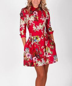 Another great find on #zulily! Red Floral Fit & Flare Dress by ZEAN #zulilyfinds
