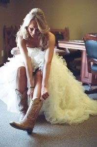 Bride and cowgirl boots