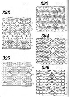 Crochet stitch chart patterns: Variations on pineapple and spider ~ <3 Nr 394 & Nr 396
