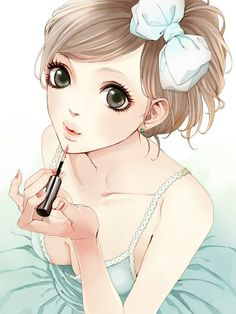 Anime picture 600x800 with original ma (artist) single tall image short hair looking at viewer brown hair simple background ponytail black eyes nail polish side ponytail from above lipstick makeup girl dress ribbon (ribbons) jewelry green dress