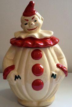 Vintage Clown Pottery Cookie Jar.