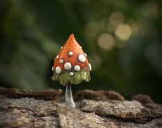 Rustic orange khaki magic polymer clay toadstool Home by Petradi