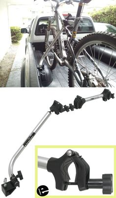 Easily mount this two bike carrier in minutes. This rack clamps to the bed rails on most pickup trucks. Provided security cable with keys protects your bikes. Pickup Camper, Jeep Pickup, Ford Pickup Trucks, Lifted Trucks, Dually Trucks, Gm Trucks, Lifted Ford, Rack Velo, Bicycle Rack