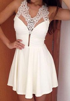 Lace Neck Skater Dress White