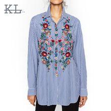 Blusas Bordados de Flores Lindo de rayas ZA Da Vuelta-abajo de La Blusa de Moda…