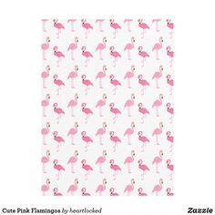 Cute Pink Flamingos Fleece Blanket