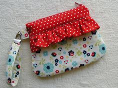 Ruffle Wristlet  Zippered Wristlet Curvy Wristlet... Dress Up Days Flowers in Blue. $11.00, via Etsy.