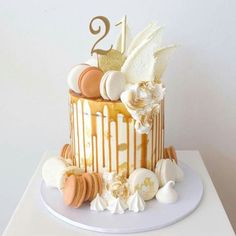 Our divine Luxury Caramel Drip Cake is one cake that will certainly get the taste buds going. A delicious mud cake, decorated with a vanilla buttercream and an decadent caramel drip. Each cake is decorated with a Macarons, yummy meringues and choc shards. Gorgeous Cakes, Pretty Cakes, Amazing Cakes, 21st Cake, 21st Birthday Cakes, Birthday Cake Designs, Red Velvet Birthday Cake, Birthday Beer, 21st Birthday Decorations