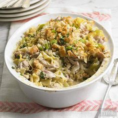 Chicken-Noodle Casserole This cozy casserole is inspired by hearty chicken noodle soup. Perfect for a hearty weeknight dinner, this delicious dish is ready to eat in just over an hour and is sure to please everyone in your family.
