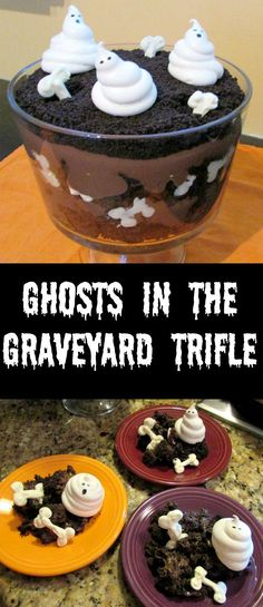 So sweet and so spooooooky! This trifle is full of chocolate goodness with sweet meringue ghosts and white chocolate bones. It's a great Halloween treat!