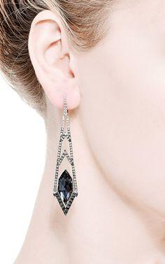 White Gold Earrings In Hematite Quartz by Stephen Webster for Preorder on Moda Operandi
