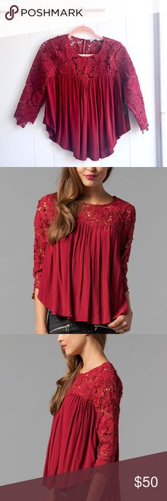 c3e77f8ae2 NWT Lovers + Friends Dreamland Lace Top Brand new with tags! Size XS. Wine