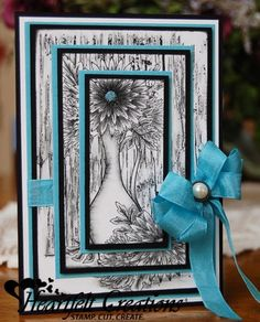 Heartfelt Creations | Aqua Aster Vase Card.  Double matted Triple Time stamping technique.