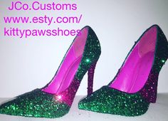 A personal favorite from my Etsy shop https://www.etsy.com/listing/273560846/the-green-pink-sparkle-lantern-heels