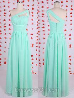 One Shoulder Green Chiffon Sheath/Column Discount Bridesmaid Dresses…