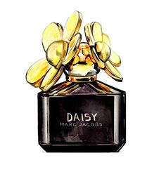 Love this perfume. Marc Jacobs Black and Gold, Daisy Perfume Bottle, Watercolor Fashion Illustration, Art Print. $10.00