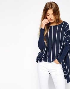 Enlarge ASOS Trapeze Sweater In Vertical Stripe