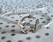 Silver Nautical Anchor Charm White Hemp Bracelet. $8.50, via Etsy.