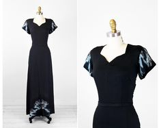 1940s dress / 40s art deco gown / Asian Inspired Black Floor Length Evening Gown