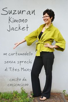 Il cartamodello giacca kimono Suzuran senza sprechi! Un kimono femminile con disegno francese e stile giapponese, perfetto per la primavera. Il layout del modello permette di usare ogni centimetro di un rettangolo di tessuto, senza sprecare stoffa! Una recensione di www.cucicucicoo.com