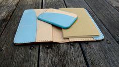 Natural + Sky blue card holder and notebook wallet.